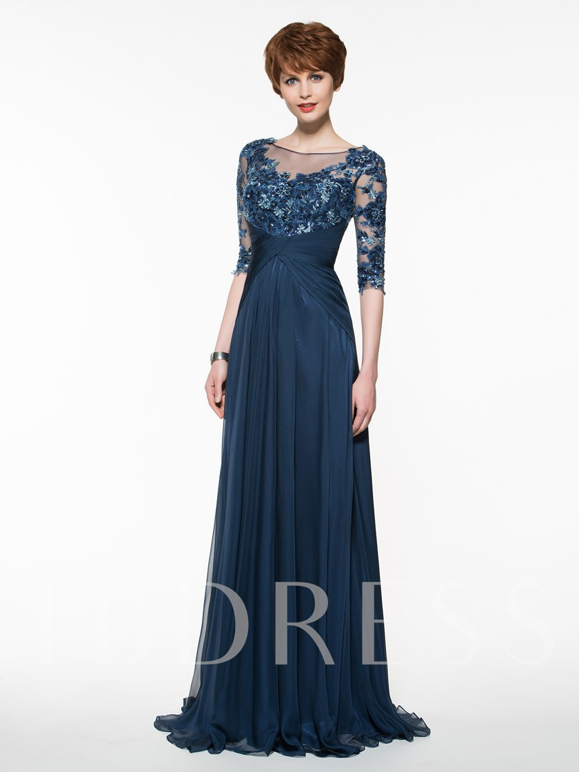 Sheer Neck Half Sleeves Appliques Mother Of The Bride Dress