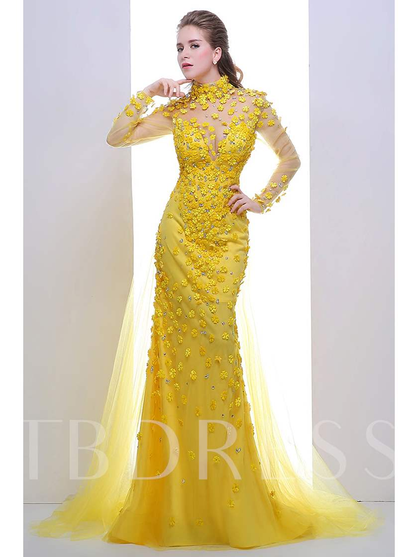 A-Line High Neck Long Sleeves Rhinestone Evening Dress