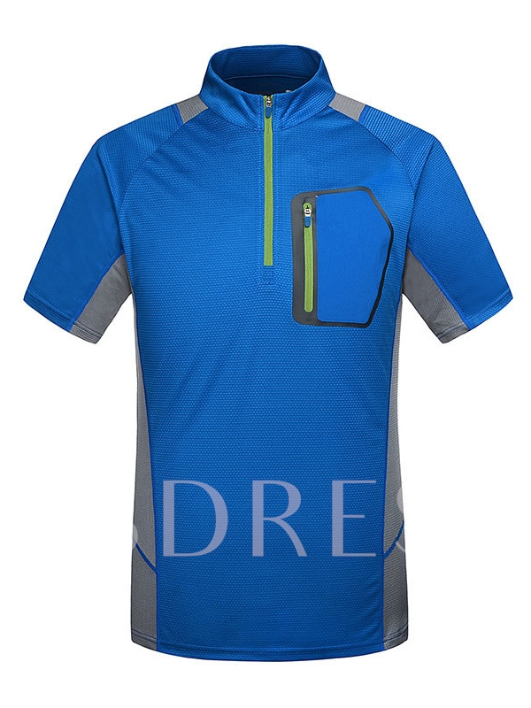 Men's Leisure Breathable Stand-up Collar Short Sleeve T-shirt
