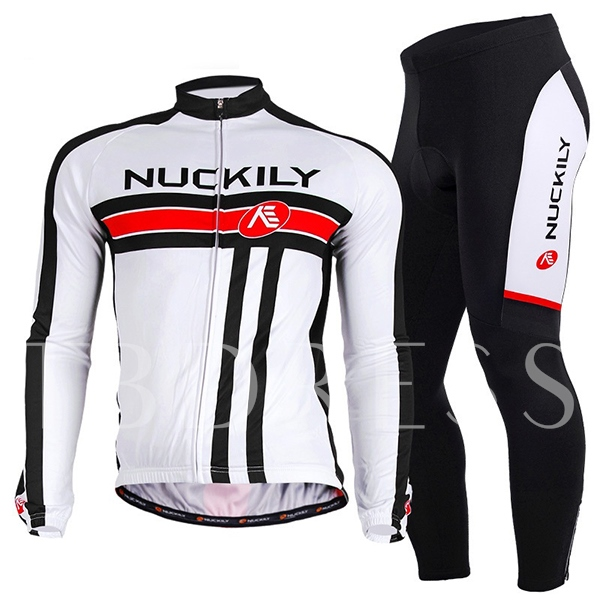 Men's Road Cycling Jersey Suits Long Sleeve White