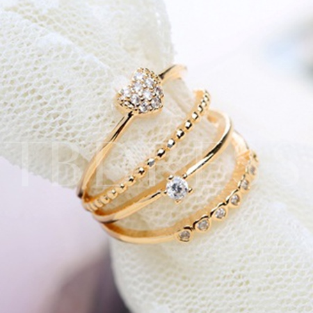 Heart Beading Multilayer Opening Ring