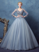 Long Sleeves V-Neck Ball Gown Lace Long Quinceanera Dress