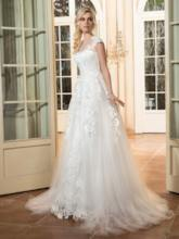 Sheer Neck Cap Sleeve Appliques Wedding Dress