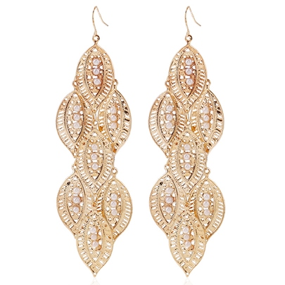 Golden Leaves Pendant Earrings