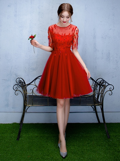 A-Line Scoop Half Sleeves Rhinestone Homecoming Dress