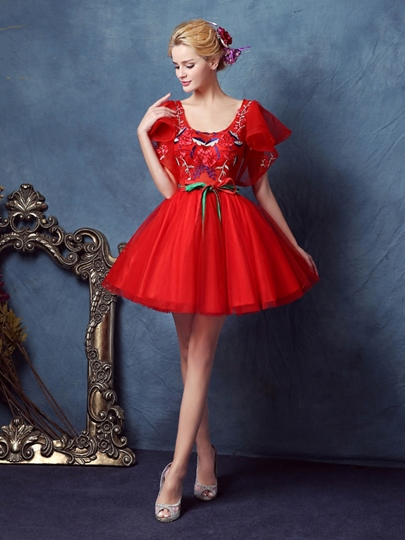 Square Ball Gown Short Sleeves Embroidery Sashes Homecoming Dress