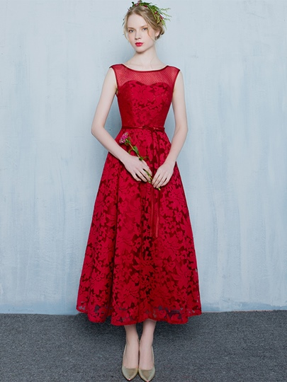 A-Line Scoop Bowknot Lace Sashes Tea-Length Evening Dress