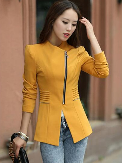 Solid Color Zipper Asymmetric Slim Women's Blazer