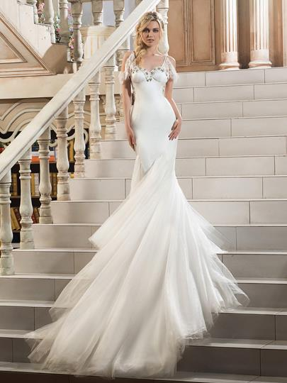 Spaghetti Strap Sweetheart Beading Chapel Train Mermaid Wedding Dress