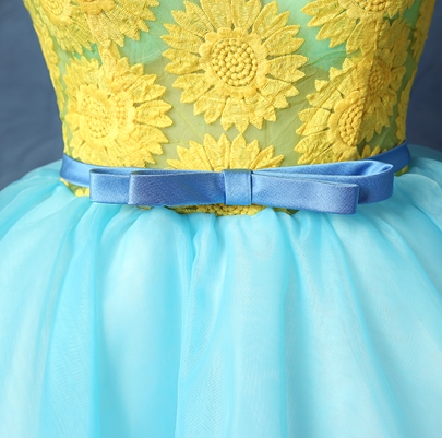 Scoop Ball Gown Printed Sashes Mini Homecoming Dress