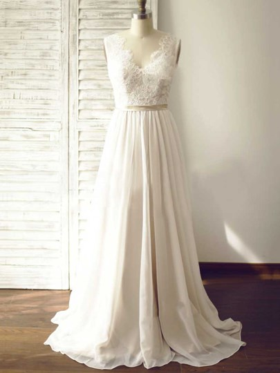 A-Line Chiffon Lace Top Beach Wedding Dress A-Line Chiffon Lace Top Beach Wedding Dress