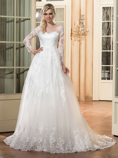 Scoop Neck Appliques Long Sleeve Wedding Dress
