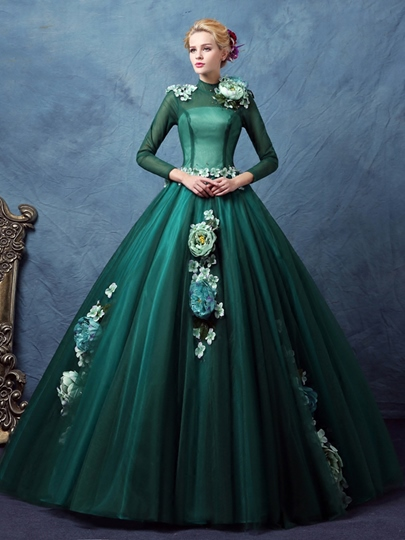 Flowers High Neck Beaded Ball Gown Floor-Length Quinceanera Dress