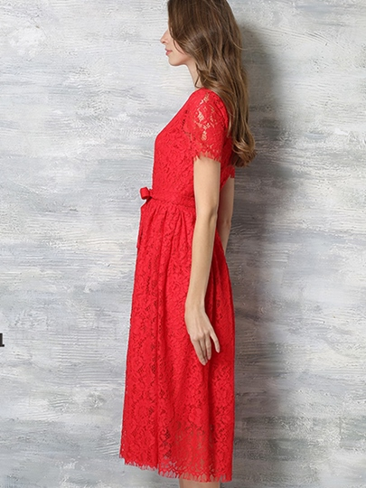 Hollow Plain Expansion Women's Lace Dress