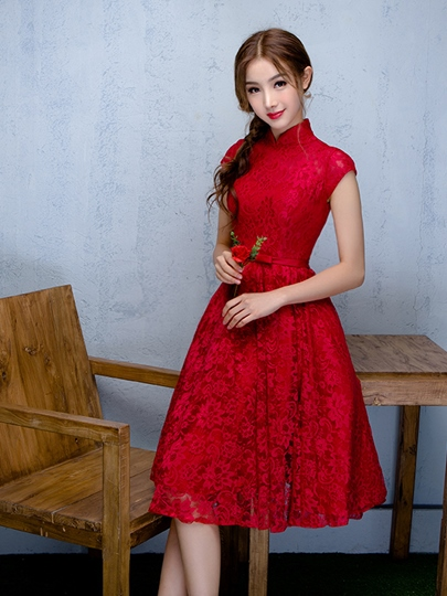 A-Line High Neck Cap Sleeves Bowknot Lace Sashes Short Homecoming Dress