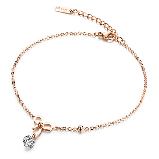 Bowknot Diamante Chain Anklet