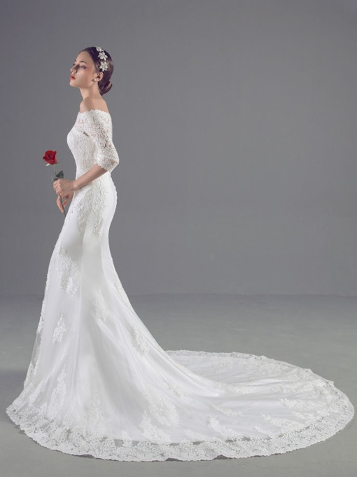 Half Sleeves Lace Appliques Mermaid Wedding Dress