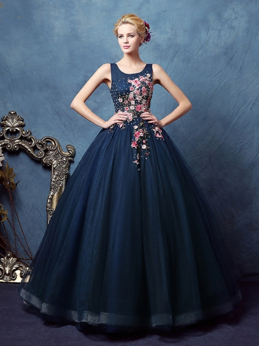 Scoop Flowers Ball Gown Appliques Beaded Floor-Length Quinceanera Dress
