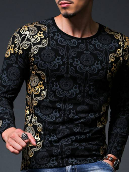 Round Collar Wash Golden Printed Slim Fit Men's Long Sleeve T-Shirt