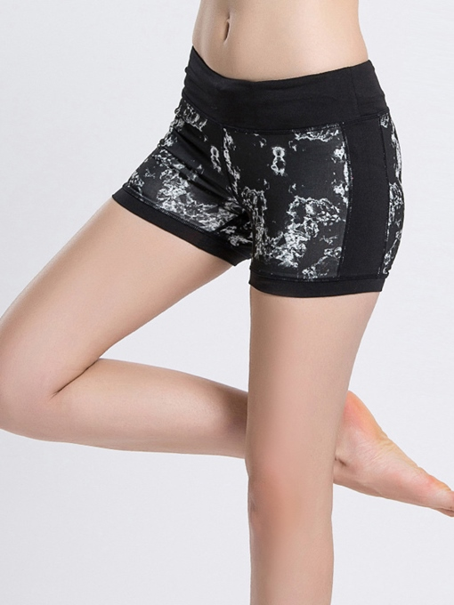 Polyester Quick-Dry Print Yoga Shorts