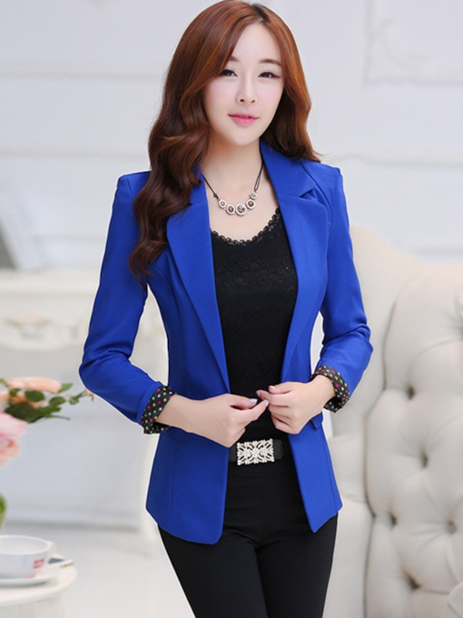 Chic Solid Color Lapel Slim Women's Blazer