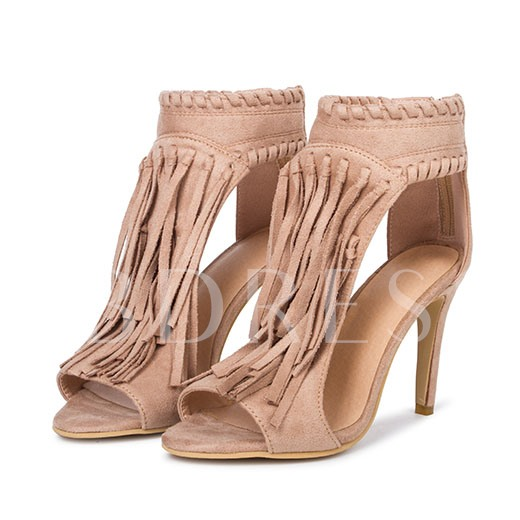 Open Toe Buckle Plain Tassel Plain Women's Sandals