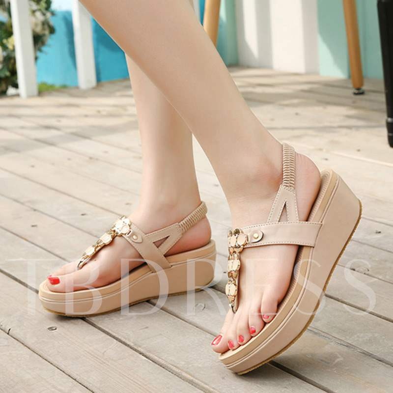 Thong Elastic Band Plain Slingback Strap Women's Sandals