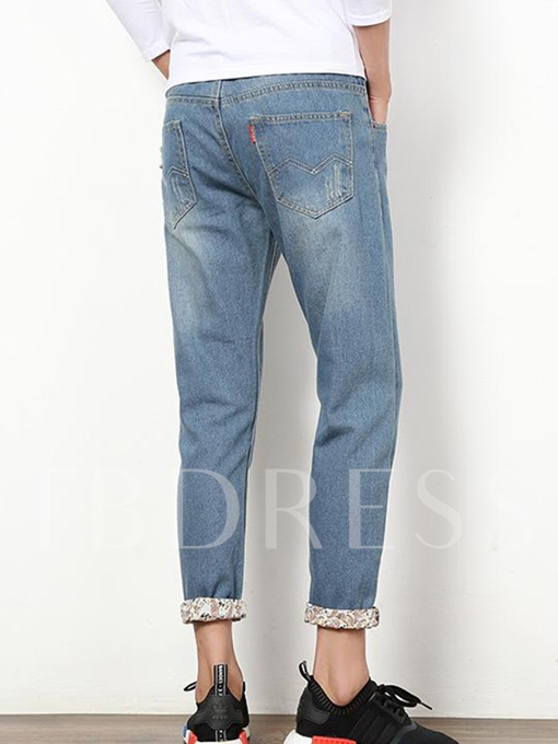 Men's Slim Fit Hole Jeans with Roll-Up Cuff