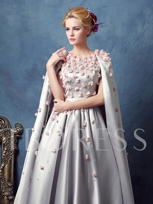 A-Line Scoop Beading Flowers Tea-Length Prom Dress
