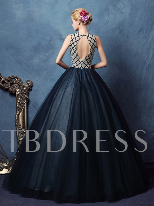 Scoop Ball Gown Beaded Pearls Long Quinceanera Dress