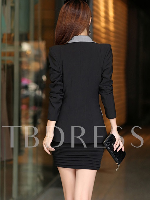 Color Block Long Sleeve Lapel Women's Blazer