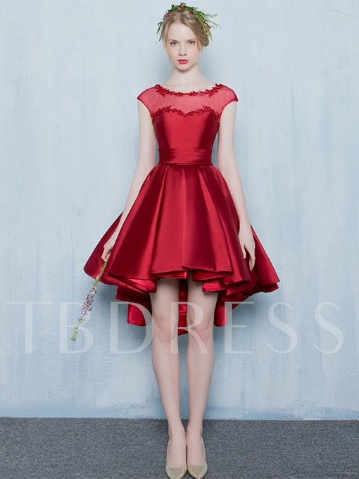Scoop Sashes Appliques Beading Homecoming Dress