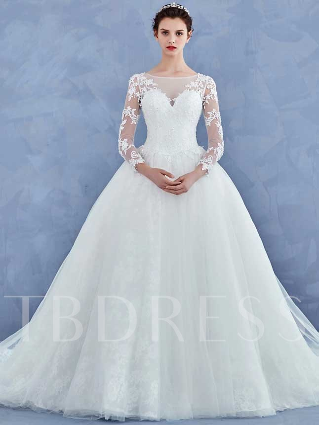 Appliques Long Sleeves Bateau Neck Wedding Dress