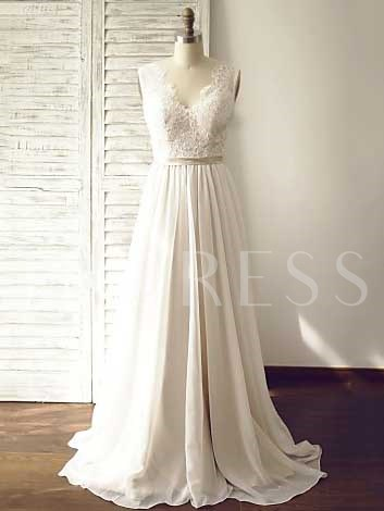 A-Line Chiffon Lace Top Beach Wedding Dress