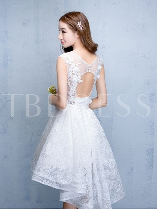 Flowers A-Line Scoop Lace Asymmetry Homecoming Dress