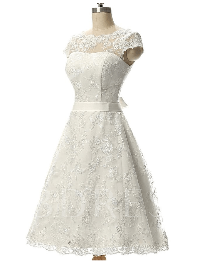 Cap Sleeves Lace Short Beach Wedding Dress