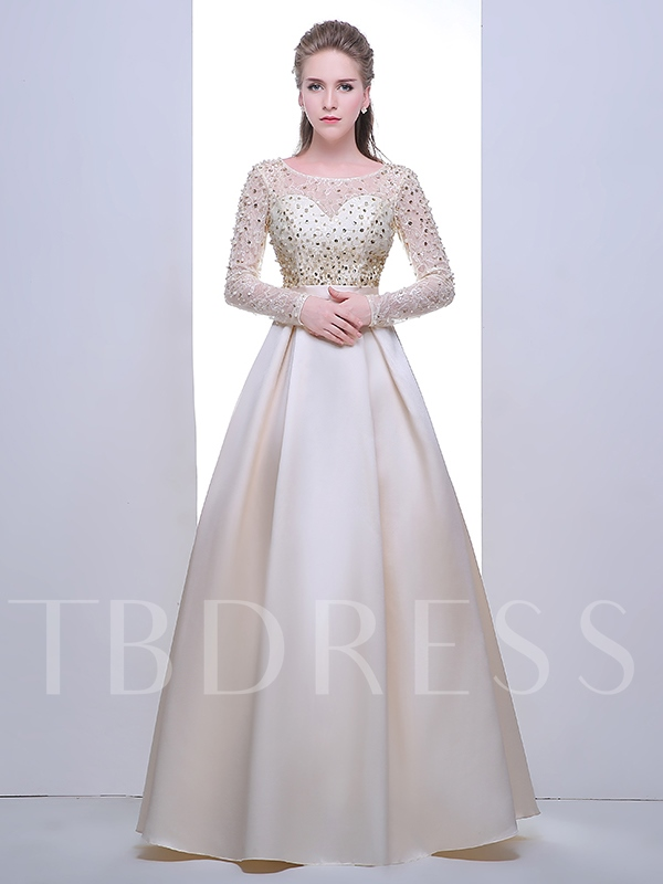 A-Line Scoop Long Sleeves Beading Pearls Sequins Evening Dress