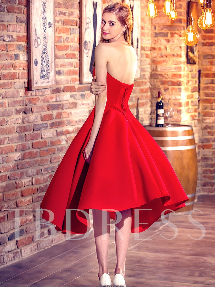 A-Line Sweetheart Red Homecoming Dress
