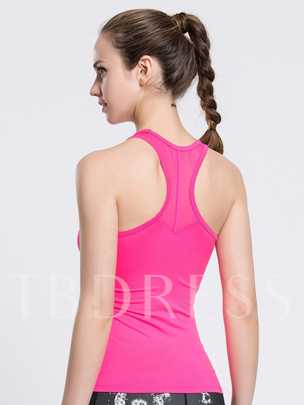 Pure Color Mesh Back Women Running Top