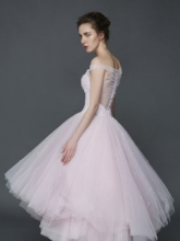 A-Line Off-the-Shoulder Beading Pleats Asymmetry Prom Dress