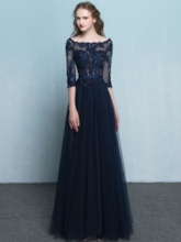 Half Sleeves Appliques Beading Evening Dress