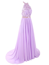 A-Line Halter Beading Lace Court Train Prom Dress