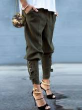 Green Color Patchwork Pleated Women's Pants