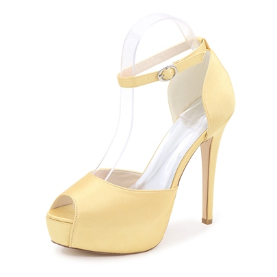 Ankle Strap Peep-toe Platform Wedding Shoes
