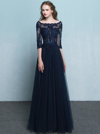 3/4 Length Sleeves Appliques Beading Lace Floor-Length Evening Dress