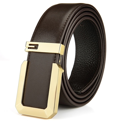 Artificial Leather Copper Smooth Buckle Men's Belt