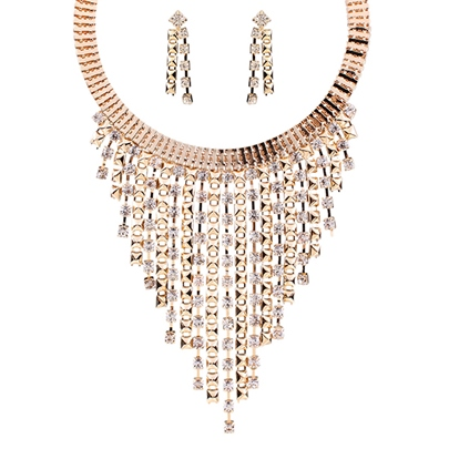 Multilayer Tassel Diamante Jewelry Set