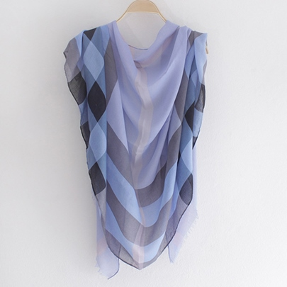 Solid Color Plaid Printed Scarf