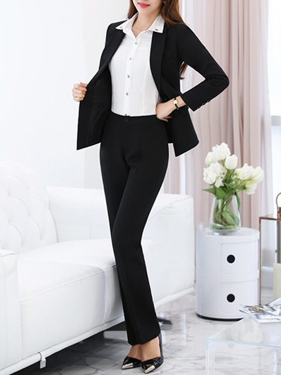 Black Long Sleeve OL Women's Pants Suit