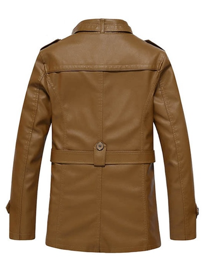 Men's Slim Fit Solid Color Long PU Jacket with Stand Collar